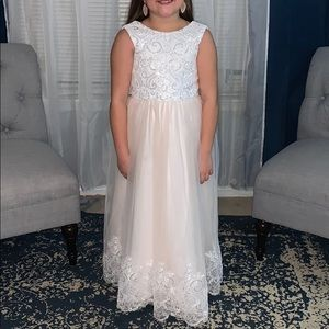 Ivory and Champagne Lace Flower Girl Dress